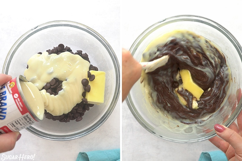 Two-photo collage showing assembling and stirring chocolate fudge.