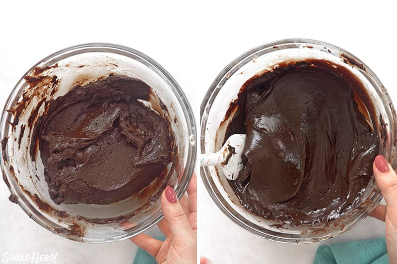 Two-photo collage showing the texture of chocolate fudge during mixing.