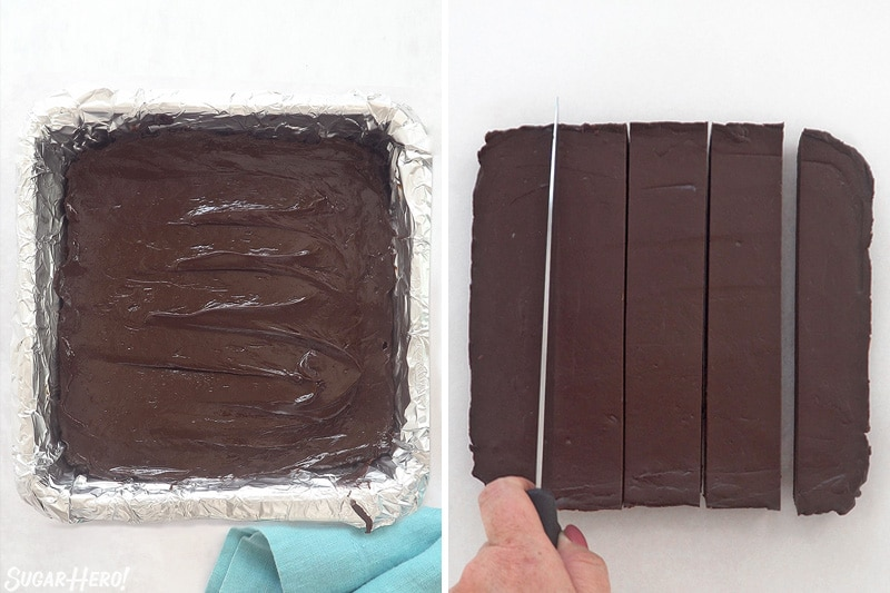 Two-photo collage showing chocolate fudge being spread in a pan and sliced.