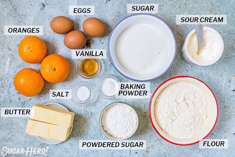Overhead shot of the ingredients needed to make an orange bundt cake.