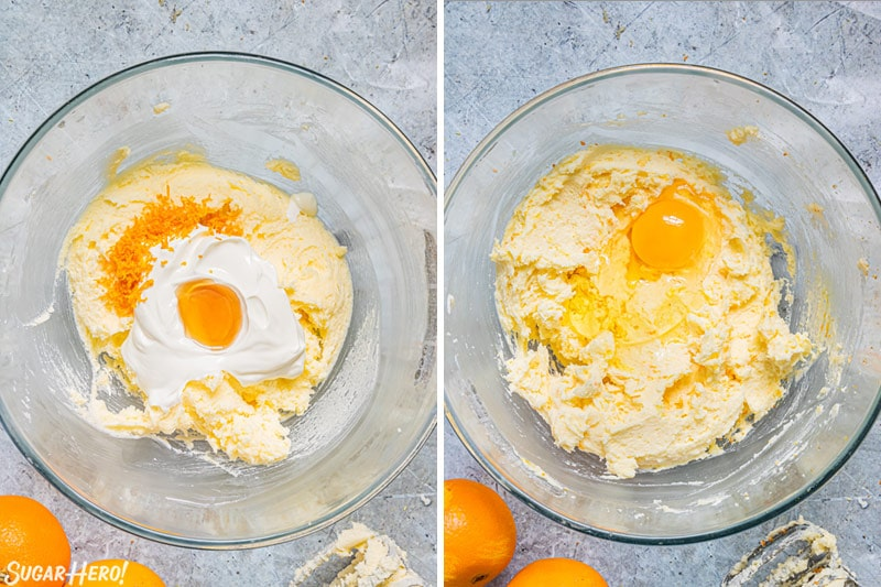 Two photo collage showing how to make orange cake batter.