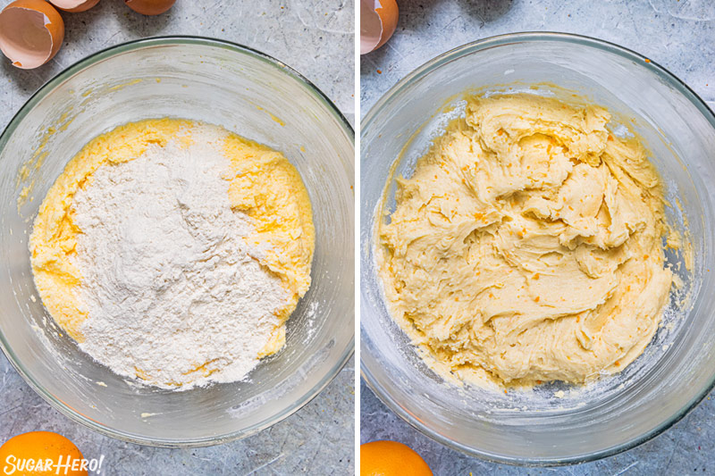 Two photo collage showing making the batter for orange bundt cake.