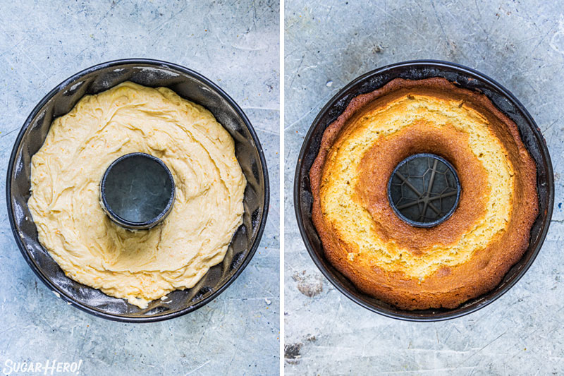 Two photo collage showing the baking of an orange bundt cake.