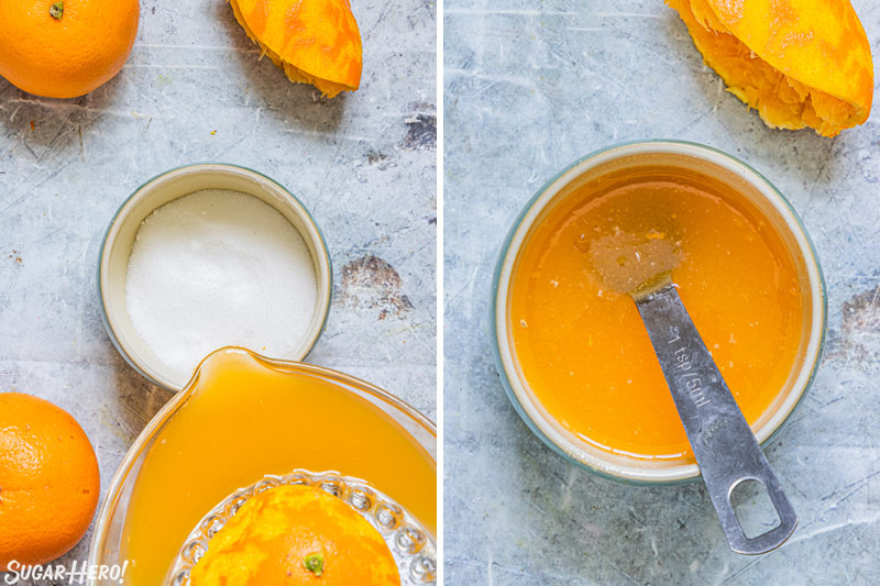 Two photo collage showing how to make orange soaking syrup.
