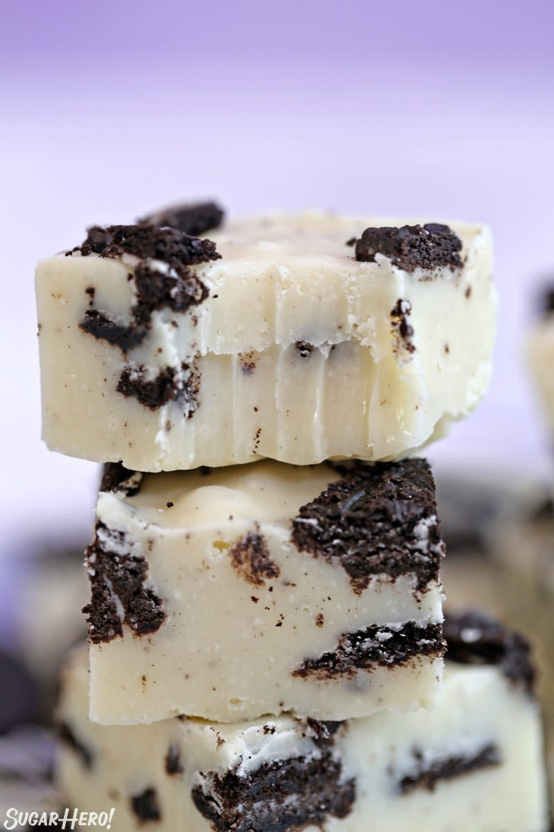 Close-up of Oreo Fudge with a bite taken out of it.