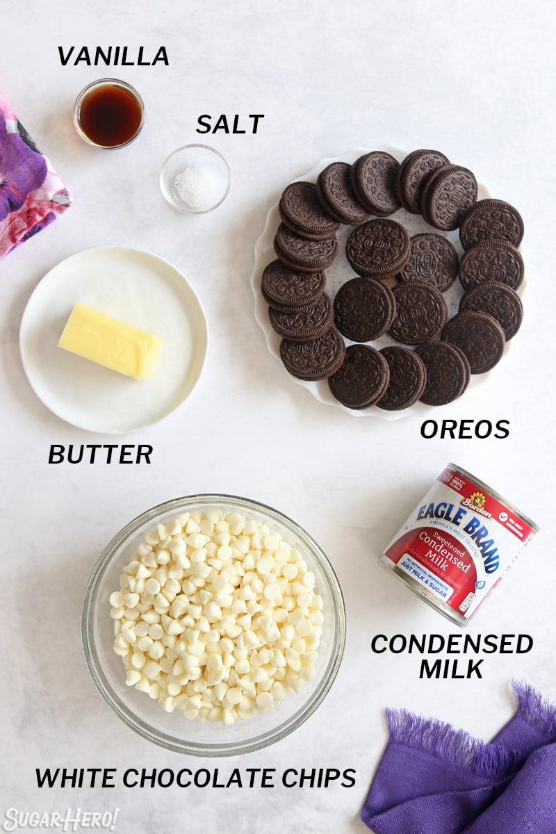 Overhead shot of ingredients needed for Oreo fudge