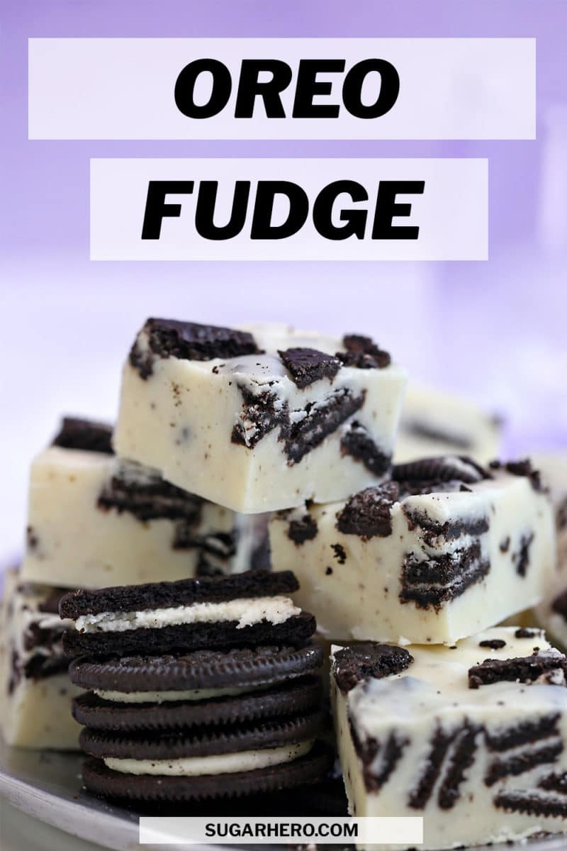 Oreo Fudge photo with text overlay for Pinterest