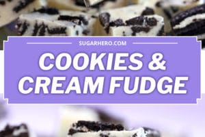 Two photo collage of Oreo Fudge with text overlay for Pinterest
