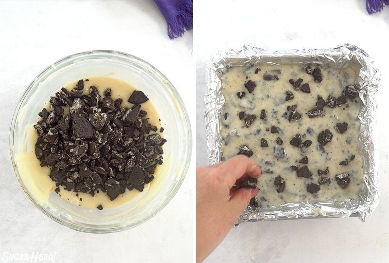 Two photo collage showing adding Oreo cookies and pressing fudge into the pan.