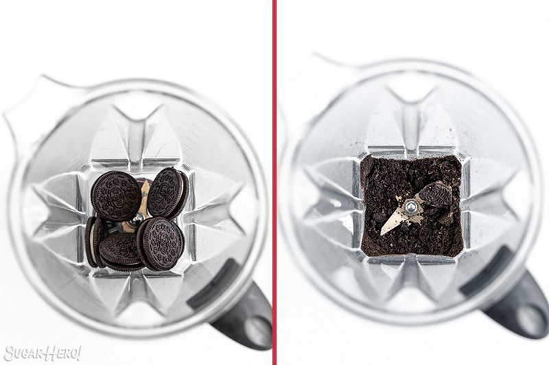 Two photo collage of Oreo Milkshakes showing how to crush the Oreos in a blender.