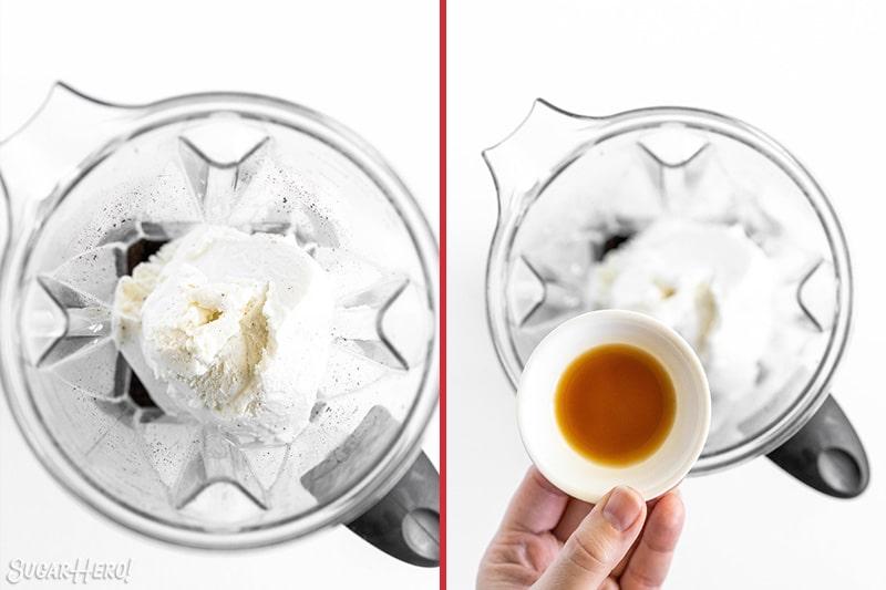 Two photo collage showing adding milkshake ingredients to a blender.