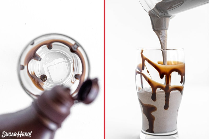 Two photo collage showing pouring a milkshake into a cup.