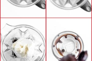 Six photo collage showing the steps for making an Oreo Milkshake.