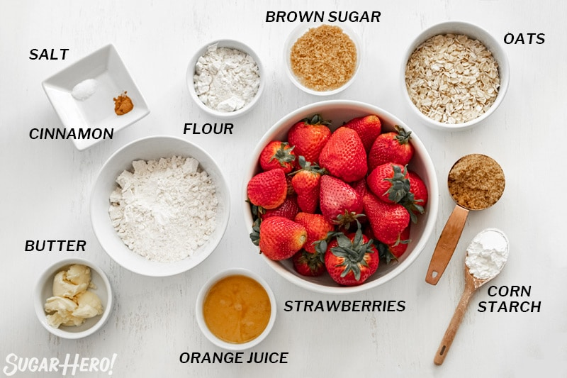 Overhead shot of the ingredients needed to make a strawberry crisp.