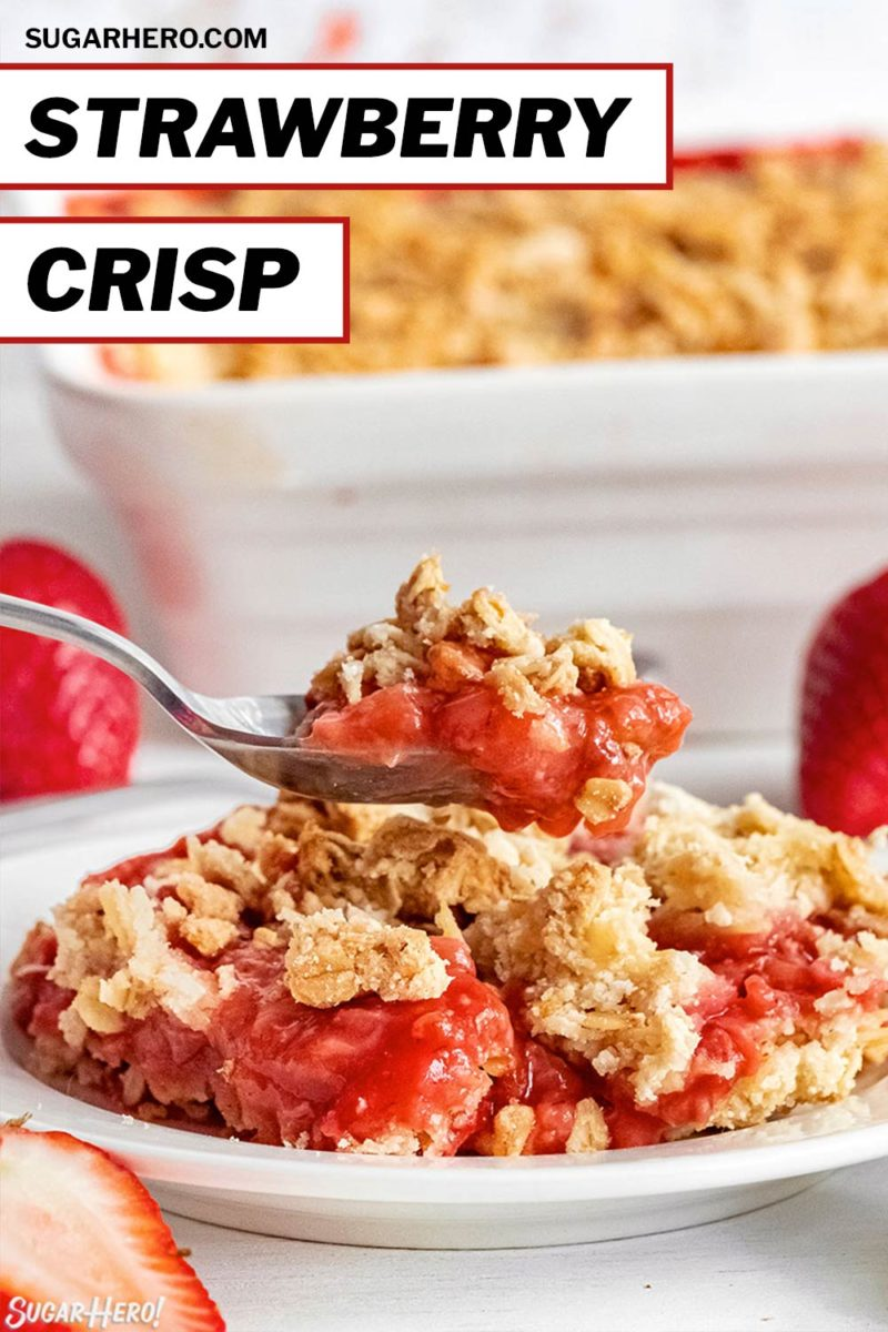 Strawberry Crisp picture with text overlay for Pinterest.