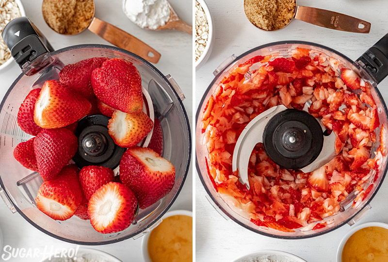 Two-photo collage showing how to puree strawberries for Strawberry Crisp.