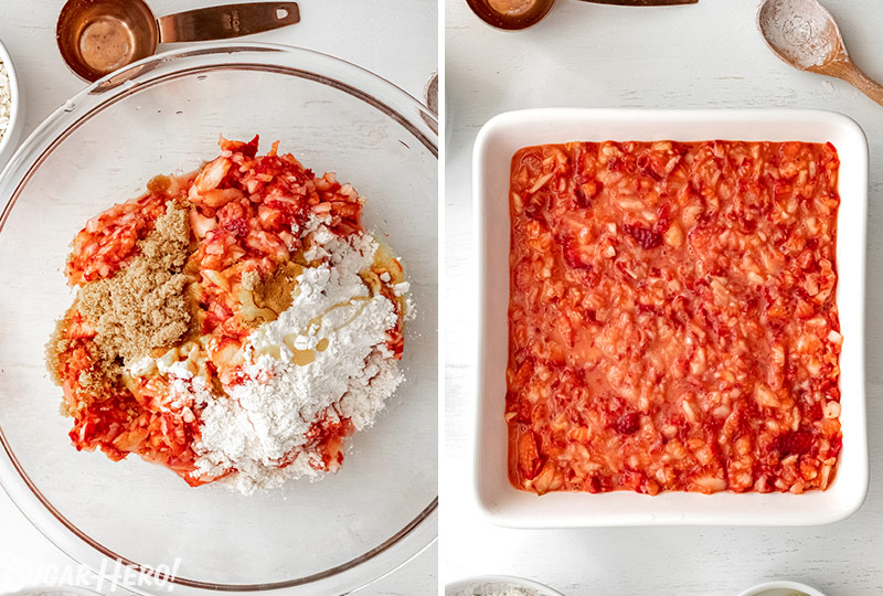 Two photo collage showing how to mix the filling for Strawberry Crisp.