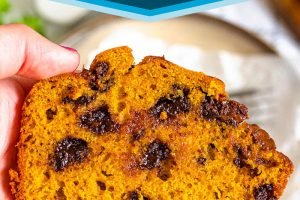 Chocolate Chip Pumpkin Bread picture with text overlay for Pinterest.