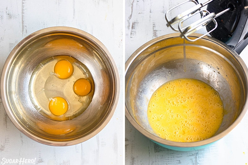 Two-photo collage showing how to beat eggs for pumpkin bread.