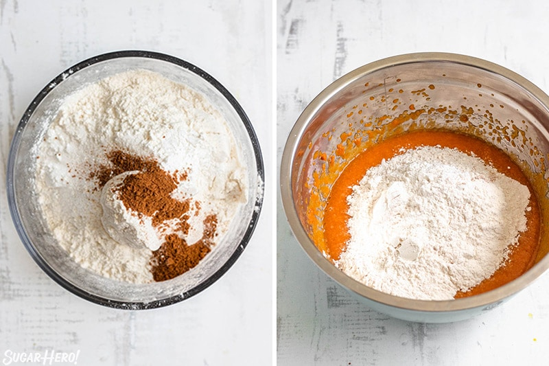 Two-photo collage showing how to make Pumpkin Chocolate Chip Bread batter.