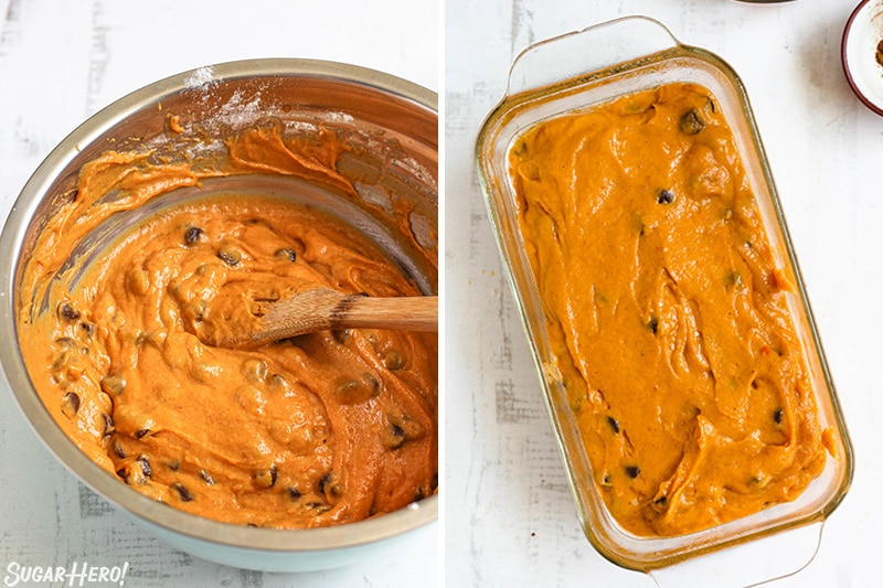 Two-photo collage showing mixing and pouring Pumpkin Chocolate Chip Bread into a loaf pan.